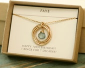70th birthday gift for grandmother necklace for mom gift, aquamarine necklace gold, March birthstone jewelry for her - Lilia