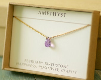 Dainty amethyst necklace jewelry for her, tiny necklace, gold amethyst necklace, February birthstone jewellery for girlfriend gift - Natalie