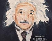 Albert Einstein on Education Print from my original watercolor painting