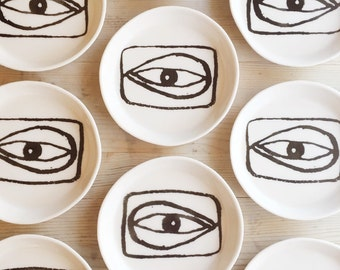 porcelain dish screen-printed design i see you.