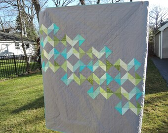 Gray, Blue, and Green Lap Quilt