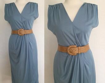 Vintage 70s / Blue / V Neck / Gathered / Secretary / Day Dress / Medium