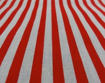 """Red & White Stripe Fabric, Candy Cane Striped Fabric, Red Stripes, Cotton Fabric Sewing Supplies 47"""" Long x 45"""" wide"""
