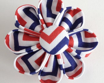 Red White and Blue Brooch - Patriotic Lapel Pin - Boutonniere