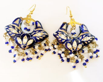Earrings,Jaipuri chandbali,Royal Blue and Gold Earrings,Lac Earrings,pearls Earrings,Jaipur Jhumkas,Indian Jewelry by Taneesi