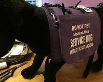 Service Dog Vest, Custom Saddle Bag Dog Vest Made in USA