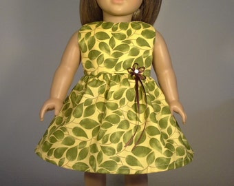18 inch Doll Clothes Handmade Green Leaves Print Dress fits American Girl Doll Clothes