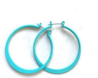 Turquoise Blue Vintage Hoop Earring Enamel Over Copper Mod Style