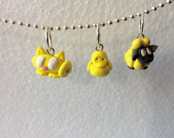 Polymer Clay Stitch Markers, 3 Tiny Animals, Sheep, Duck, Cat, Bright Yellow