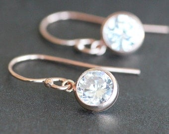 Earrings - Rose Gold with 6mm CZ Diamond Drops - Gold-Filled Ear Wires - Bridal Jewelry