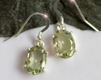 Green Tea - Faceted Green Amethyst Sterling Silver Earrings