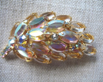 Vintage Large Champaign Rhinestone Brooch ~ Open Back