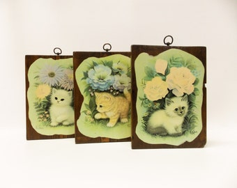 Vintage 1960's Set of K Chin Cat Prints--- Big Eyed Kittens Mounted on Solid Wood Plaques---1960's Kitsch