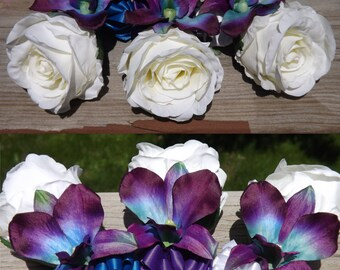 Blue galaxy orchid and open rose boutonniere or corsage - pin on or wrist, choose your orchid