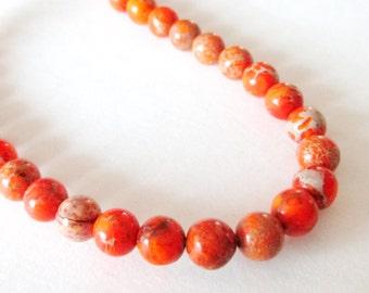 """Orange Round Beads - Jasper Variscite Beads - Small Variscite Round Gemstone Beads - Semiprecious Stone - 6mm - 16"""" Strand - Jewelry Beading"""