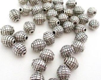 Silver Spacers - Silver Barrel  Shaped Beads - Silver Pewter Oval - Drilled Spacer Beads - 6mmx8mm - 35 Pcs - DIY Metal Jewelry Findings