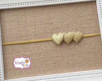 Gold Baby Headband, Glitter Headbands, Gold Sparkly Headband, Gold Heart Headband, Toddler Headband, Newborn Headband, Valentine Headband