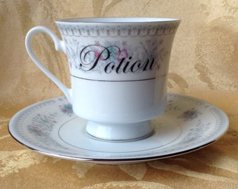Potion Tea Cup and Saucer Altered Coffee Set