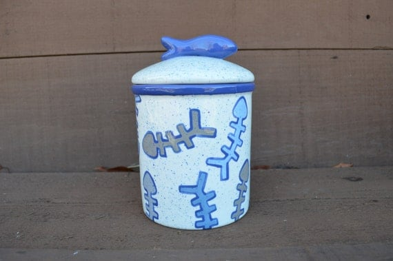 LAST ONE - Here Kitty Kitty Cat Treat Ceramic Canister with Fish Lid - Ready to Ship - Shades of Blue, Gray, Taupe
