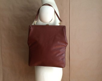 vintage 40's brown vinyl handbag / purse / top handle / embellished detail  / bohemian