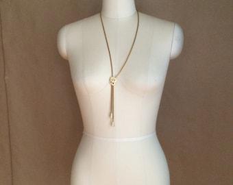vintage 1980's sleek and sophisticated Monet necklace  / enamel pendant / gold tone chain / shoestring chain /  bolo esque