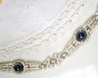 ANTIQUE Art Deco Sapphire & Clear Pave Rhinestone WIDE Link Bracelet, Silver Rhodium Something Blue Crystal 1920s Great Gatsby Flapper 1930