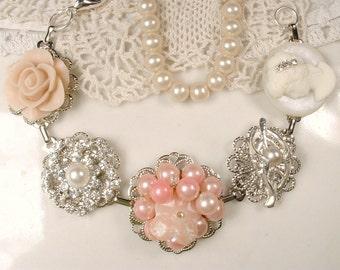 Blush Pink, Ivory, Champagne Pearl Rhinestone Bridal Bracelet, Silver Vintage Earring Bracelet, Bridesmaid Gift Rustic Wedding Something Old