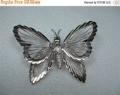 ON SALE 20% OFF Vintage Butterly Wire Silvertone Brooch Signed Monet