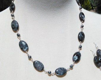 Larvikite and Sterling Necklace Set