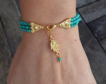 Turquoise Beaded Hamsa Charm Bracelet