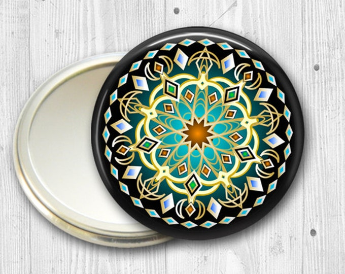 mandala pocket mirror,  original art hand mirror, mirror for purse, gift for her,  fashion accessory,  bridesmaid gift  MIR-MAND-37