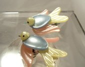 Celluloid Bird Brooch Pair of 2 Pearlized Lucite Pastel Colors 1940's 1950's Vintage
