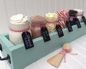 Hot Chocolate Bar Station (Deluxe), Hot Cocoa Bar,  Tabletop Mason Jar Wood Planter Box