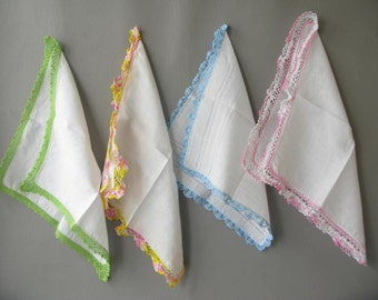 Vintage Linen Handkerchief, crocheted edge, bridesmaid gift, white, multi color, set, four