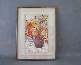 Framed Watercolor, Vintage, floral. vase, flowers, still life, fall colors