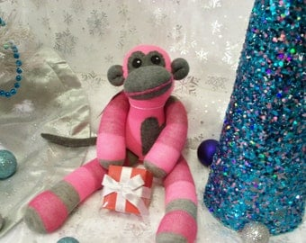 Alice the Neon Pink with Pink and Gray Stripes Sock Monkey Stuffed Animal Plush Toy