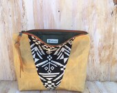 Mustard Geometric Pouch/ Waxed Canvas/ Genuine Leather