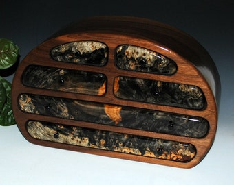 Handmade Large Wood Jewelry Box - Solid Walnut with Buckeye Burl Accents - Large Wooden Jewelry Box  by BurlWoodBox - Burl Wood Jewelry Box