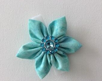 Aqua Dog Collar Flower- Ready to Ship