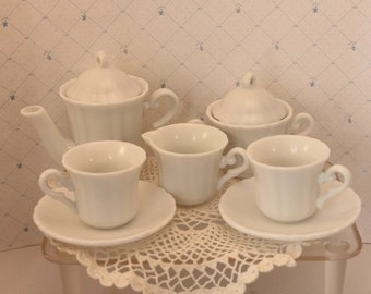 Childrens Toy China Dishes Tea for Two Set White  Japan