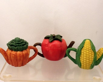Miniature Vegetable Teapot Collection Toy Dishes or Display Corn Tomato Carrots Resin