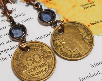 France, Vintage Coin Earrings - - Long and Lovely - - World Travel - Upcycled Jewelry - French Coin - 1930s