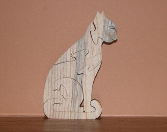 Home Decor - Wooden Puzzle - Cat Shape - Wood Animal - Office Decor
