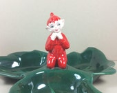GILNER HOLLY DISH with Pixie Elf, Marked Ceramic, Mid-Century, Vintage Christmas, Holiday Decor