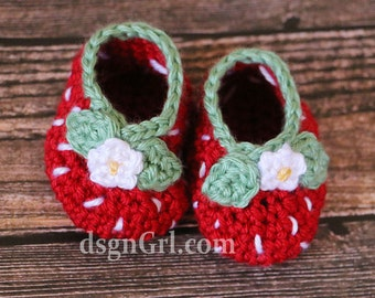 Strawberry Booties -Newborn Baby Shoes - Strawberry Crib Shoes - Baby Shower Gift - Baby Girl Gift - Crocheted Baby Booties
