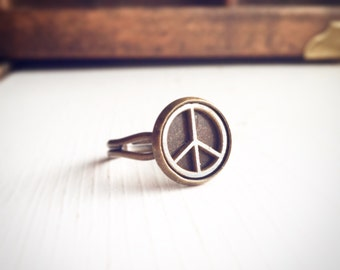 Peace Symbol Ring Adjustable Two Tone  Ring / Antique Brass Bronze Silver / Circle Hippie Boho Bohemian Gift Wanderlust