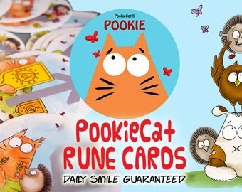 PookieCat RUNE cards- oracle tarot divination - (including one extra card) New release!- PookieCat