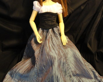 SD BJD Dollfie  Theatre Skirt Blue/Brown