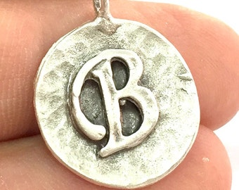 20mm B Charm , Antique Silver  Plated Brass G4868