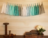 ASSEMBLED Gray and Aqua Skies Garland Tissue Paper Tassels Garland Kit Choose your  quantity Sets of 6 to 50